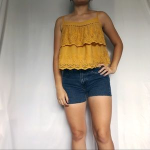 H&M yellow layered eyelet lace crop top